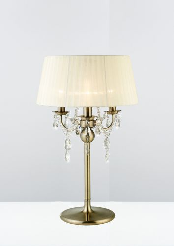 Diyas Olivia 3 Light Table Lamp Antique Brass Cream Shade IL30065CR