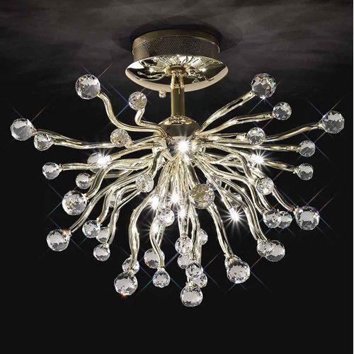 Diyas IL30875 Tizio Semi-Flush Ceiling Fitting 10 Light French Gold Crystal