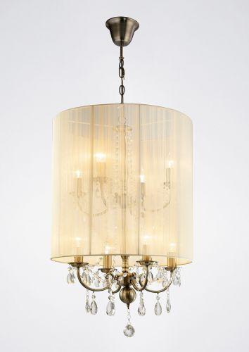Diyas IL30069 Ella Pendant Ivory Cream Shade 8 Light Antique Brass Crystal