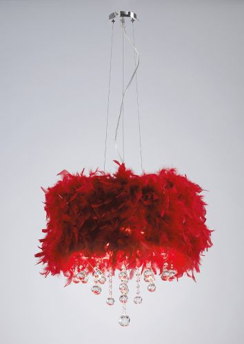 Diyas Ibis Red Feathered Pendant Fitting IL30742-RD