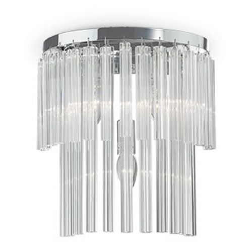 Ideal Lux Elegant AP3 Wall Light IP20 027975 Polished Chrome Glass Rods