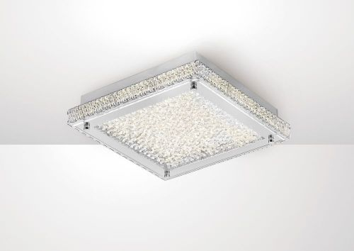 Diyas IL80071 Amelia Flush Ceiling Light 18W 1530lm LED 4000K Stainless Steel Crystal