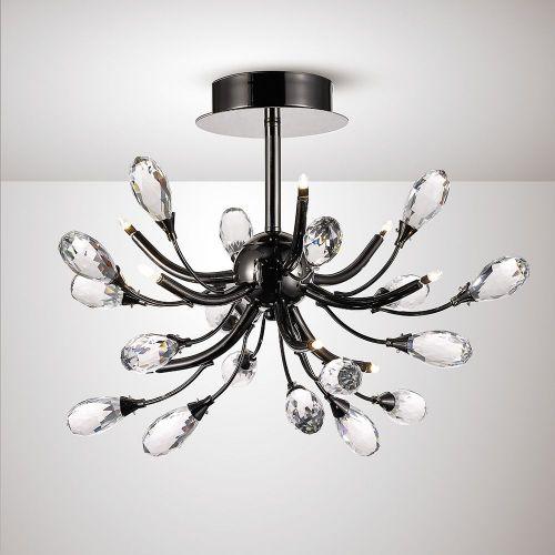 Diyas IL31635 Anita Semi Flush Ceiling 9 Light G4 Black Chrome Clear Crystal