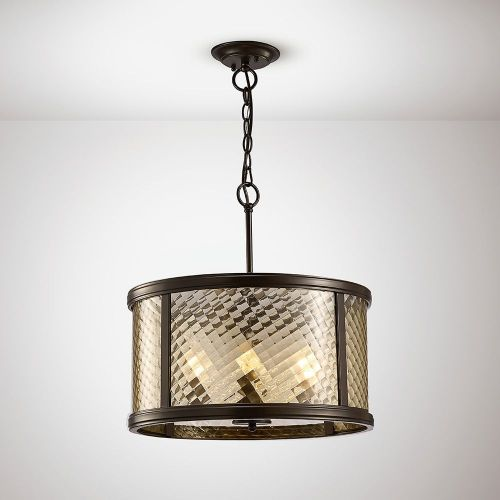 Diyas IL31677 Asia Pendant 4 Light E14 Oiled Bronze Clear Glass