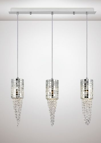 Diyas IL31625 Camden Pendant 3 Light G9 Line Polished Chrome Mosaic Glass Crystal