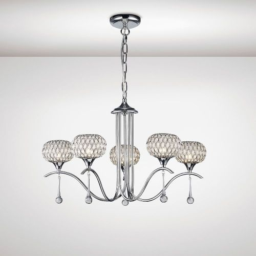 Diyas IL31506 Chelsie Pendant 5 Light Polished Chrome Clear Glass