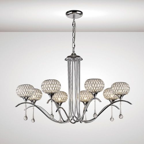 Diyas IL31509 Chelsie Pendant 8 Light Polished Chrome Clear Glass
