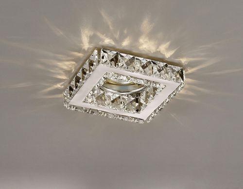 Diyas IL30837CH Galaxy GU10 Square Recessed Downlight Polished Chrome Crystal