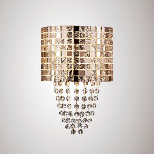Diyas IL31621 Camden Wall Lamp 2 Light G9 Rose Gold Mosaic Glass Crystal