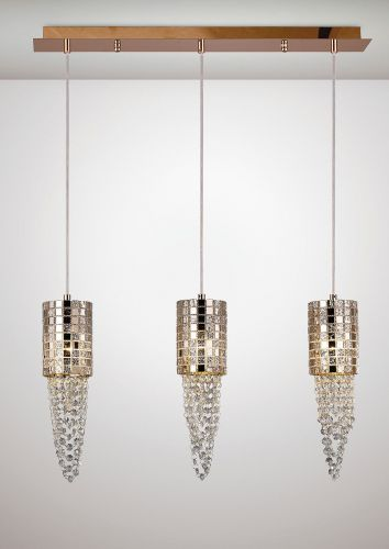 Diyas IL31627 Camden Pendant 3 Light G9 Line Rose Gold Mosaic Glass Crystal