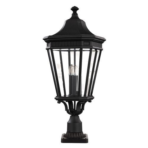 Feiss Cotswold Lane Large Pedestal Lantern FE/COTSLN3/L BK Black Die-Cast Aluminium