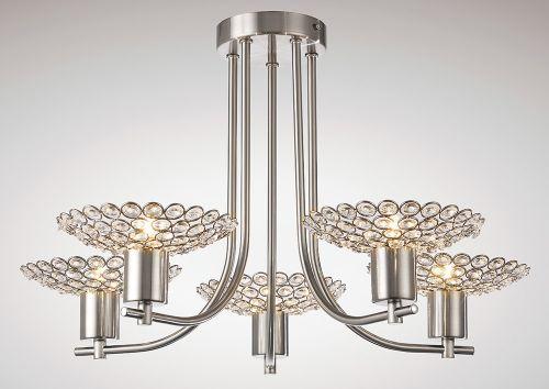 Diyas IL20607 Ellen Semi-Flush Ceiling Fitting 5 Light Satin Nickel Crystal