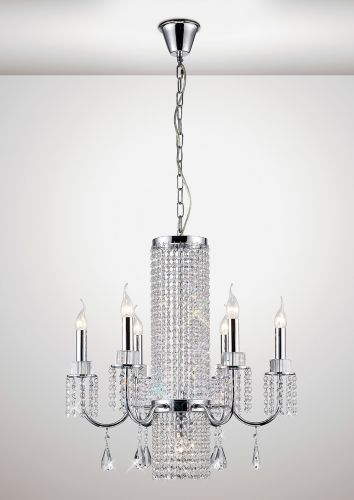 Diyas IL31543 Emily Crystal 7 Light Pendant Polished Chrome Frame