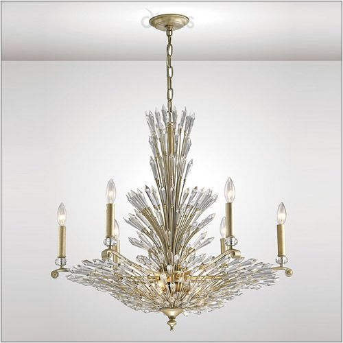 Diyas IL31673 Fay Crystal 9 Light Chandelier Aged Gold Frame