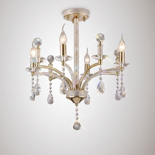 Diyas IL32364 Fiore Crystal 4 Light Semi Flush Ceiling Fitting French Gold Frame