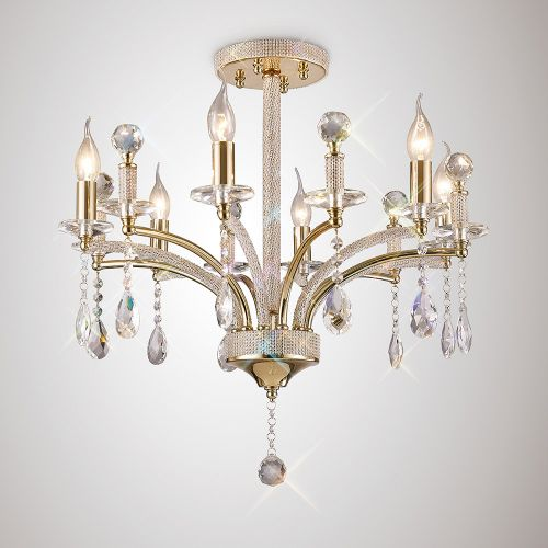 Diyas IL32366 Fiore Crystal 6 Light Semi Flush Ceiling Fitting French Gold Frame