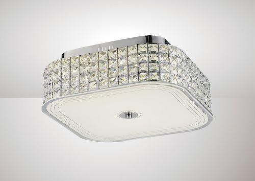 Diyas IL80023 Hawthorne Square Flush Ceiling Light 30W 1450lm LED 4000K Polished Chrome Crystal