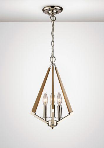 Diyas IL31681 Hilton Tetragonal Pendant 3 Light E14 Polished Nickel Taupe Wood