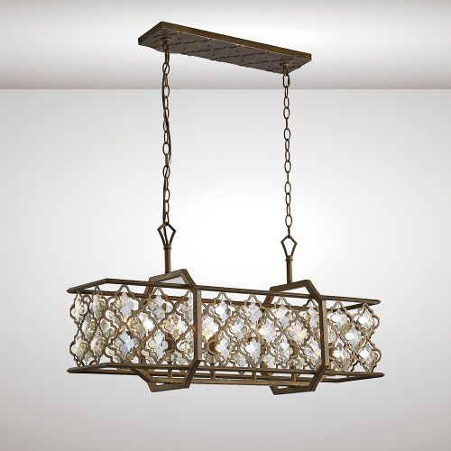 Diyas IL31697 Indie Pendant 6 Light E14 Rectangle Mocha Teak Plated Crystal