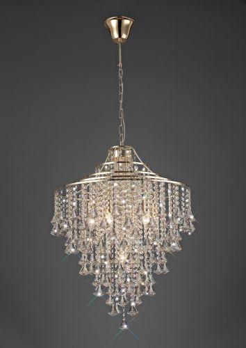 Diyas Inina Pendant 7 Light E14 French Gold/Crystal IL32772