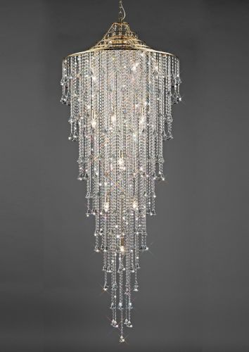 Diyas Inina 15 Light Tall Pendant  E14 French Gold/Crystal IL32776