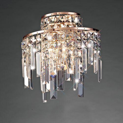 Diyas  Maddison 2 Light G9 Wall Lamp Rose Gold/Crystal IL31710