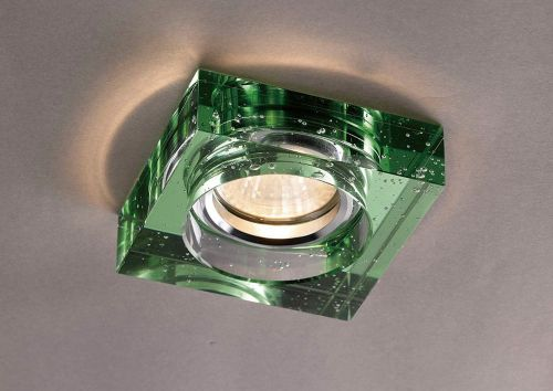Diyas IL30832GR Crystal Bubble Recessed Downlight Square Rim Only Green