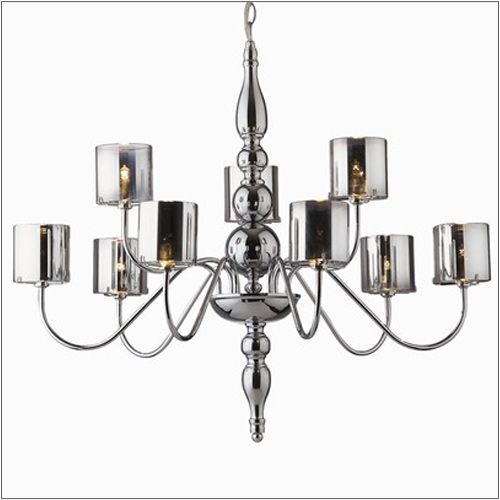 Ideal Lux 031712 Duca 9 Arm Modern Chrome Ceiling Light Glass Shades