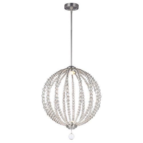 Feiss FE/OBERLIN/P/M Oberlin 50cm LED Satin Nickel Crystal Pendant