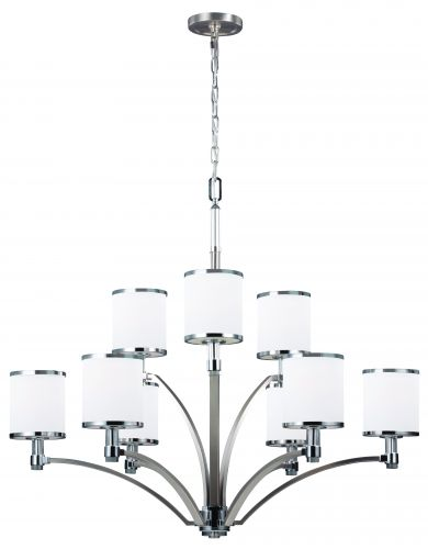 Feiss FE/PROSPECTPK9 Prospect Park 9Lt Satin Nickel, Chrome Chandelier