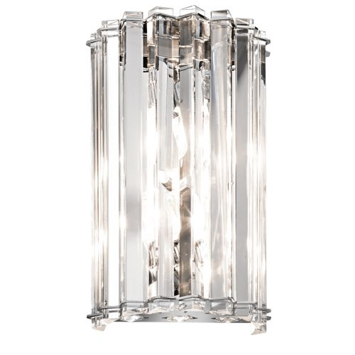 Kichler Crystal Skye KL/CRSTSKYE2 2 Light LED Wall Light Chrome IP44 Wall Fitting
