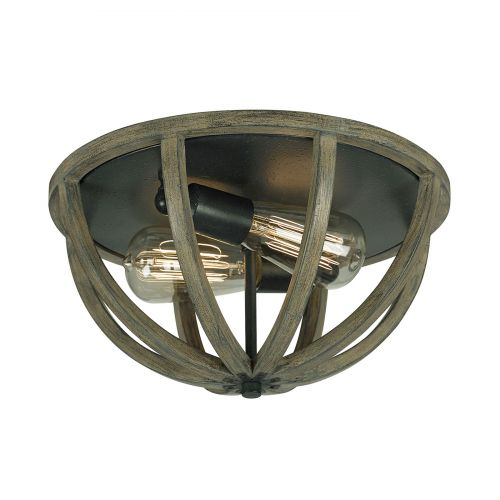 Feiss Allier FE/ALLIER/F WW Oak Wood 2Lt Forged Flush Ceiling Light
