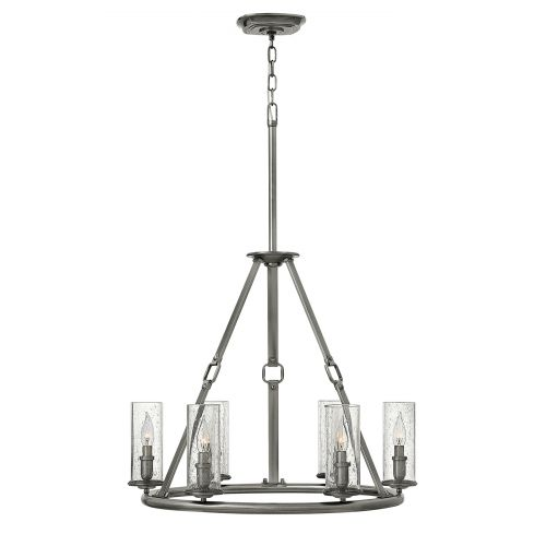 Hinkley Dakota 6 Light Polished Antique Nickel Chandelier HK/DAKOTA6
