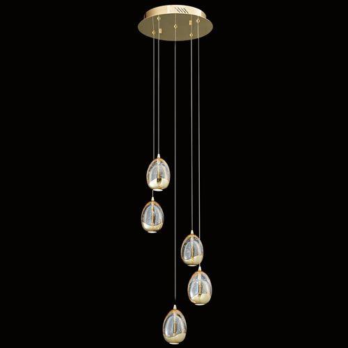 Illuminati Terrene MD13003023-5A GOL 5Lt LED Spiral Pendant Gold Dimmable