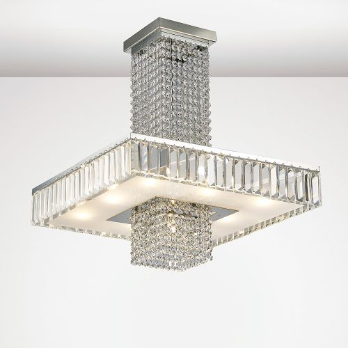 Diyas IL31551 Ophelia Crystal 9 Light Semi Flush Ceiling Fitting Polished Chrome Frame