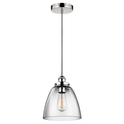 Feiss FE/BASKIN/P/B PN Baskin 1Lt Polished Nickel Pendant Ceiling Light
