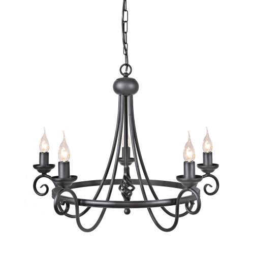 Elstead HR5 Black Harlech 5Lt Black Chandelier