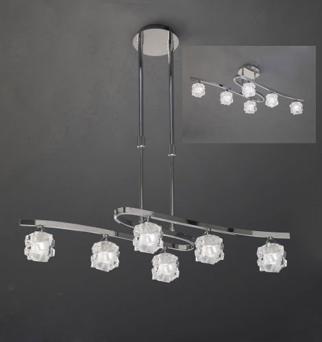 Mantra Ice 6 Light Polished Chrome Ceiling Fitting M1841