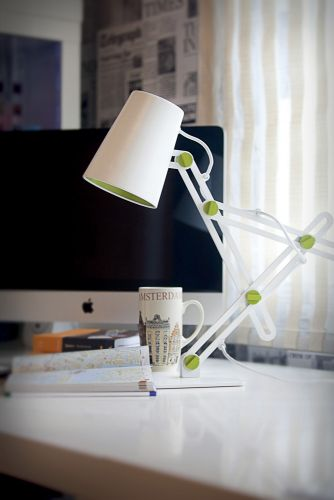 Mantra Looker 1 Light White And Green Table Lamp M3614