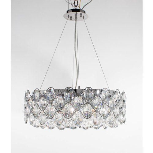 Impex CF412181/12/CH Raina 12Lt Chrome Crystal Ceiling Pendant Light