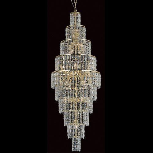 Impex CF03220/24/G New York 24Lt Gold Long Crystal Chandelier