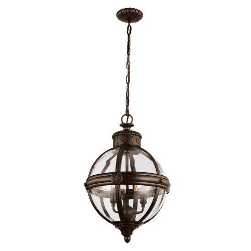 Feiss FE/ADAMS/3P BRZ Adams 3Lt British Bronze Ceiling Globe Pendant