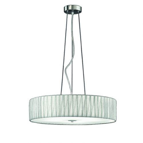 Pendant 5 Light Fitting Silver Fabric Shade Apulia LEK61523