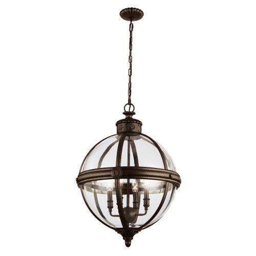 Feiss FE/ADAMS/4P BRZ Adams 4Lt British Bronze Ceiling Globe Pendant