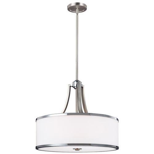Feiss FE/PROSPECTPK/4P Prospect Park 4Lt Satin Nickel Duo-Mount Pendant