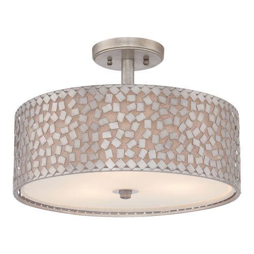 Quoizel QZ/CONFETTI/SF Confetti 3Lt Old Silver Ceiling Semi-Flush