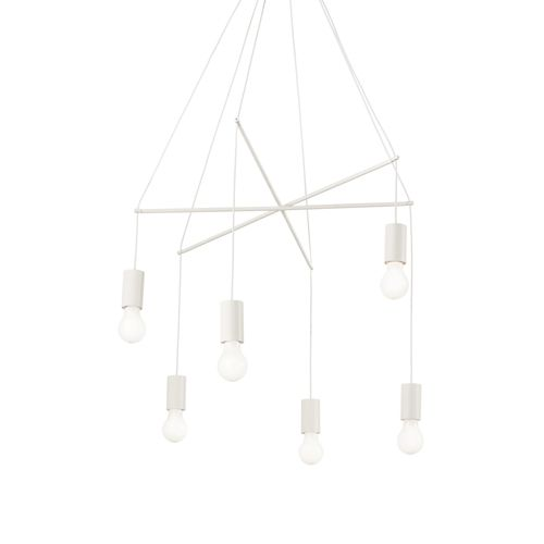 Ideal Lux 186795 Pop 6Lt White Ceiling Multi-Arm Pendant