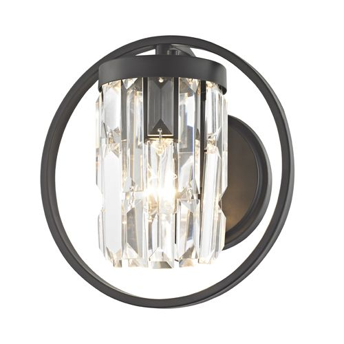 Impex Talin CF1703/01/WB/BLK 1 Light Wall Light Black Wall Fitting