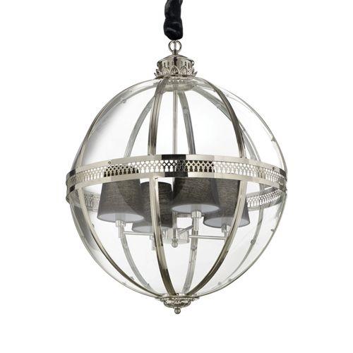Ideal Lux 156347 World 4Lt Chrome Ceiling Globe Pendant