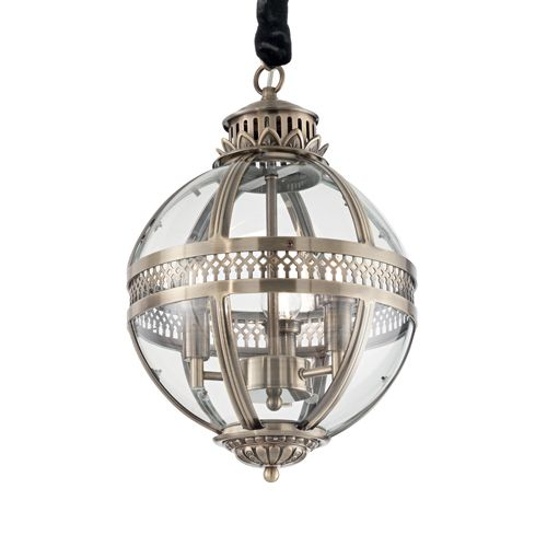 Ideal Lux 156316 World 3Lt Antique Brass Ceiling Globe Pendant